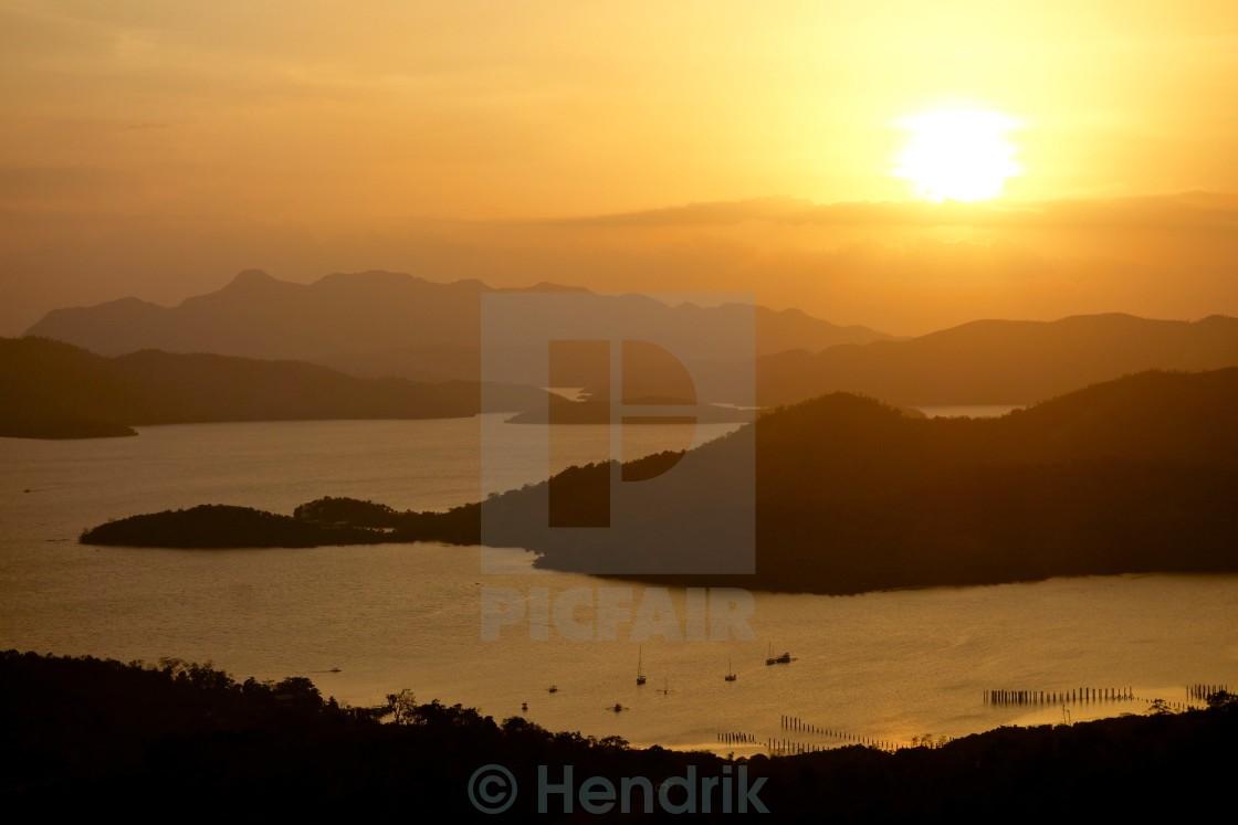 """Sunset over Coron"" stock image"