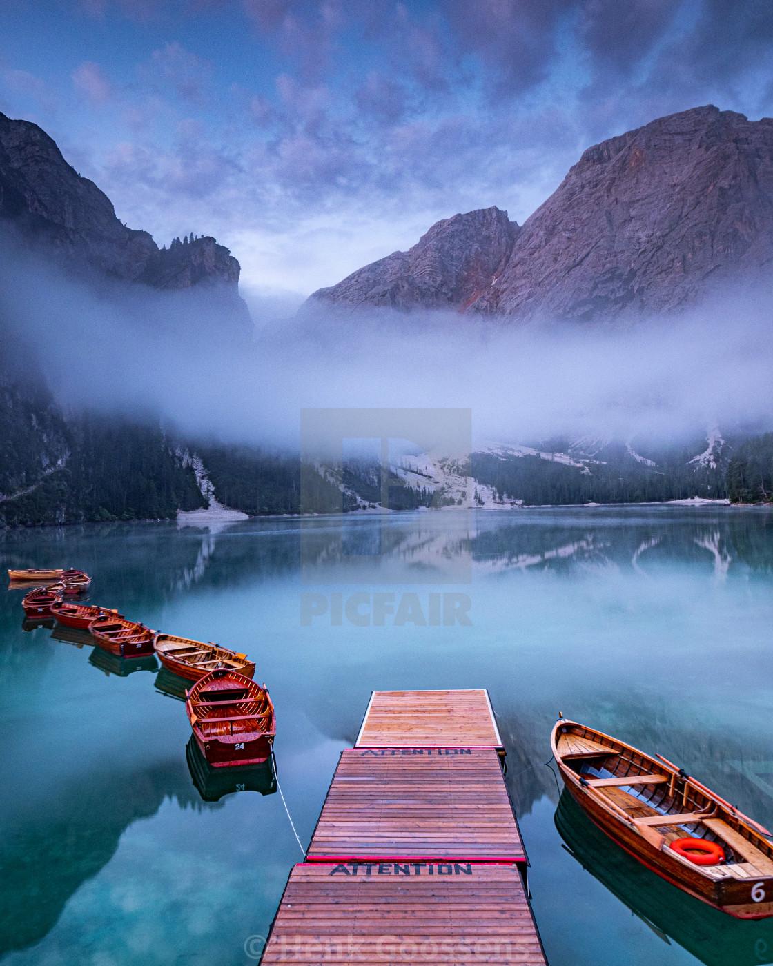 """Pragser wildsee. / Lago di Braies."" stock image"