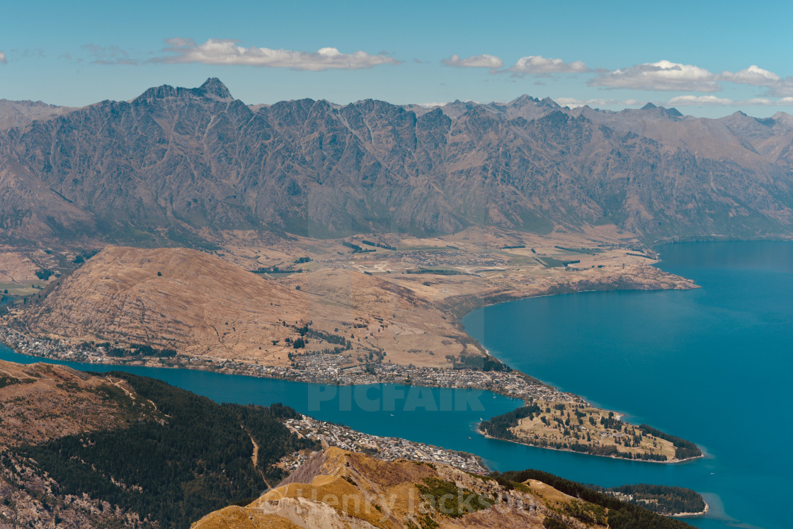 """Portrait of Queenstown - Close"" stock image"