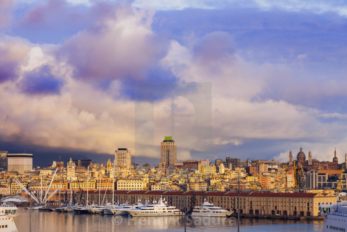 """Old town in Genoa accross the harbor"" stock image"
