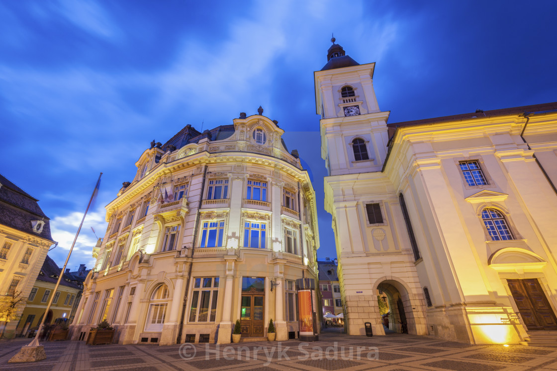 """Holy Trinity Church and Sibiu City Hall"" stock image"