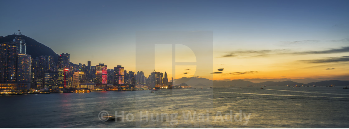 """Sunset at Victoria Harbor of Hong Kong"" stock image"