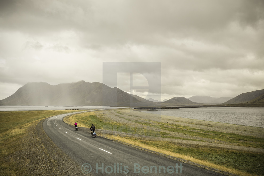 """Cyclists, NW Iceland"" stock image"