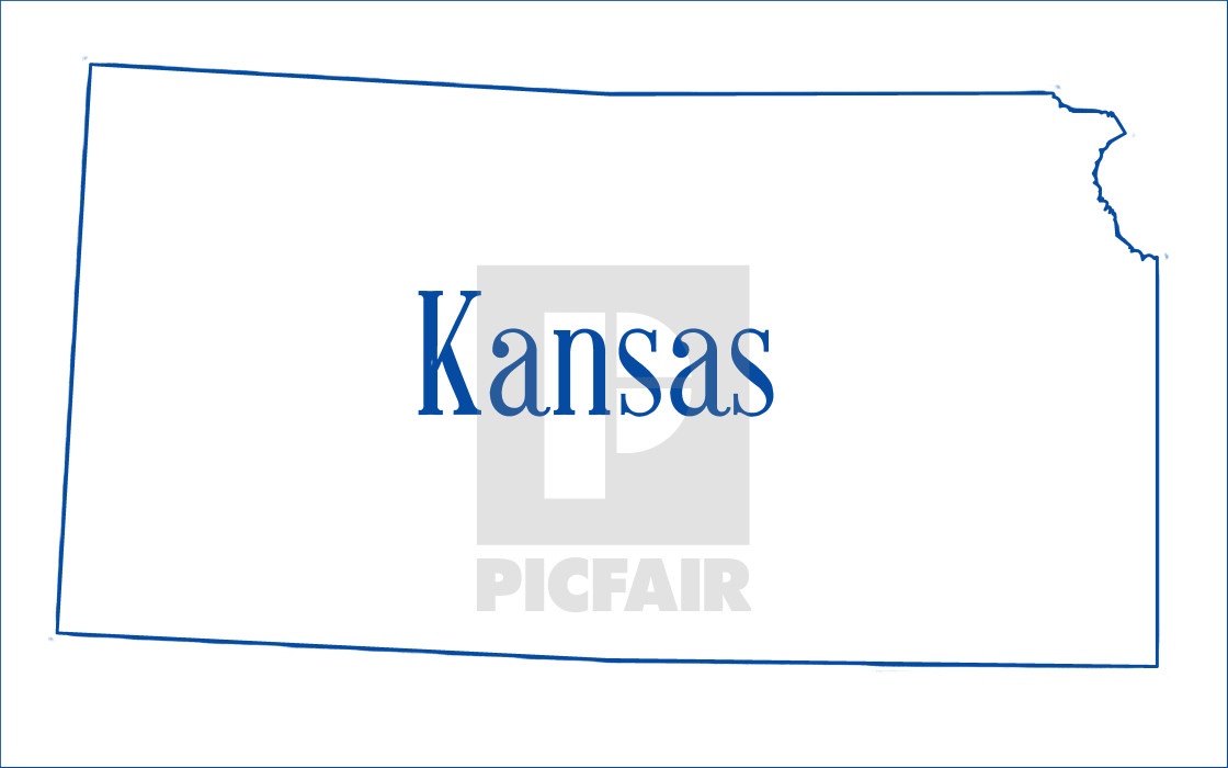 Kansas State Outline Map License Download Or Print For 1 86