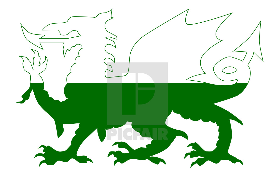 Welsh Dragon Flag Silhouette License Download Or Print For