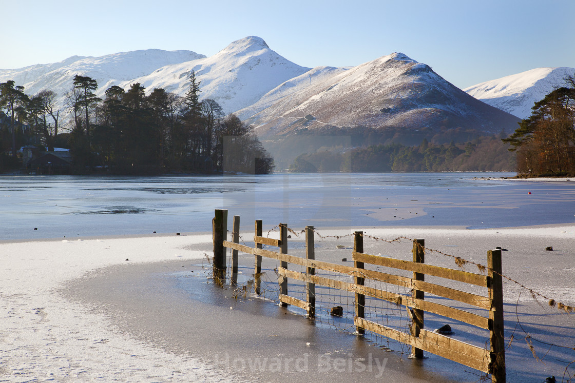 """""""A frosty morning by Derwent Water"""" stock image"""