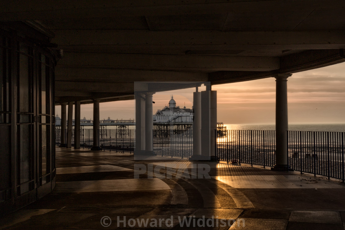 """Eastbourne Pier from the Bandstand"" stock image"