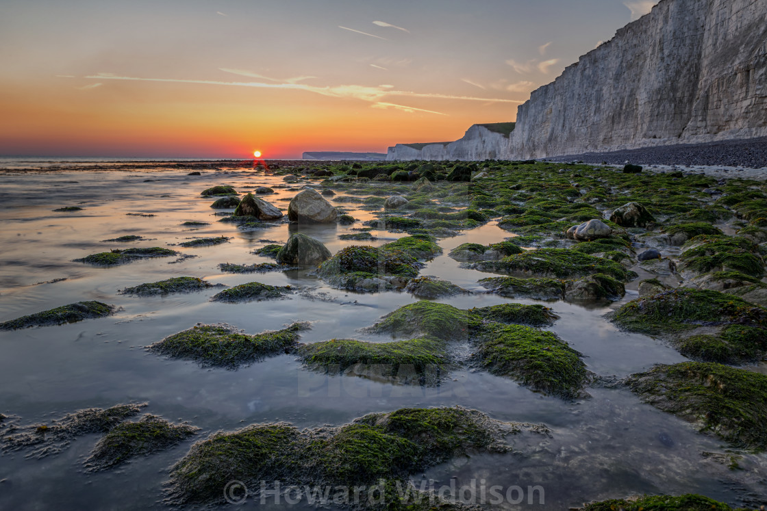 """""""Looking West at Birling Gap"""" stock image"""
