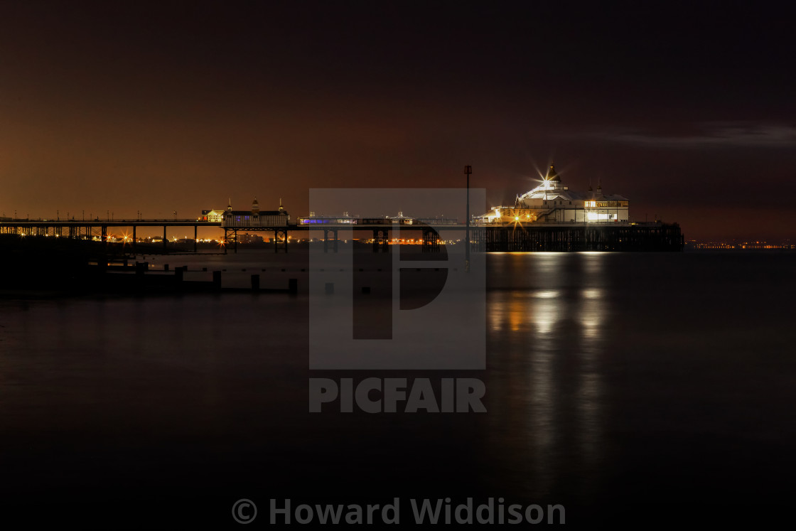 """Eastbourne Pier, Winter before Blue Hour"" stock image"
