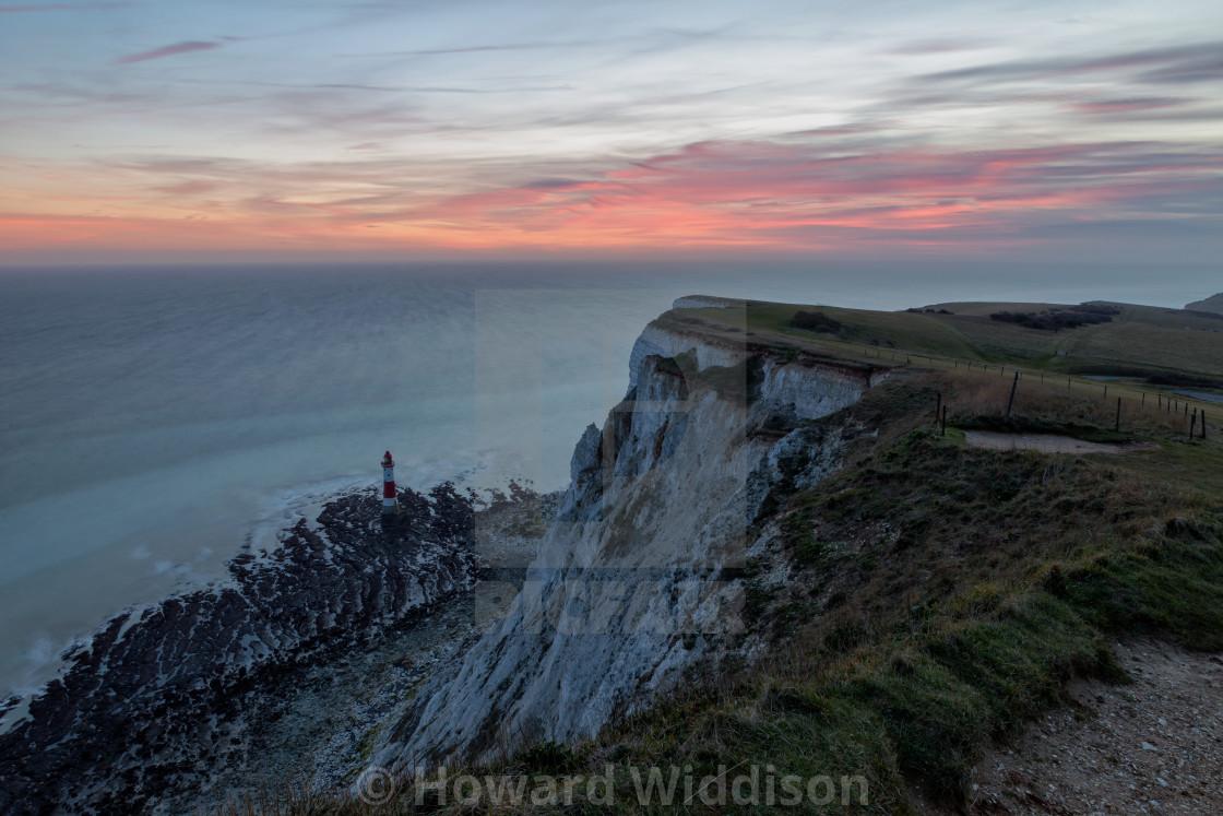 """Last light over Beachy Head Lighthouse"" stock image"