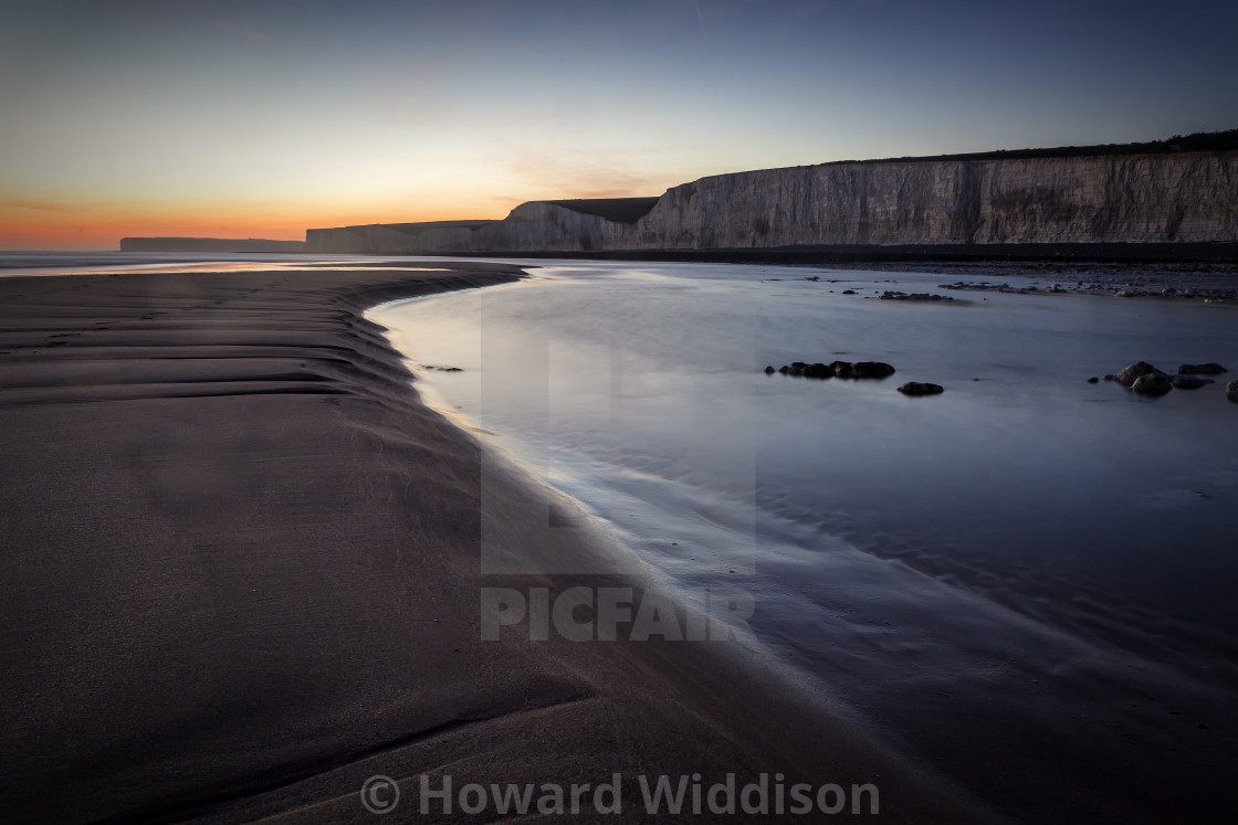 """Birling gap at low tide"" stock image"