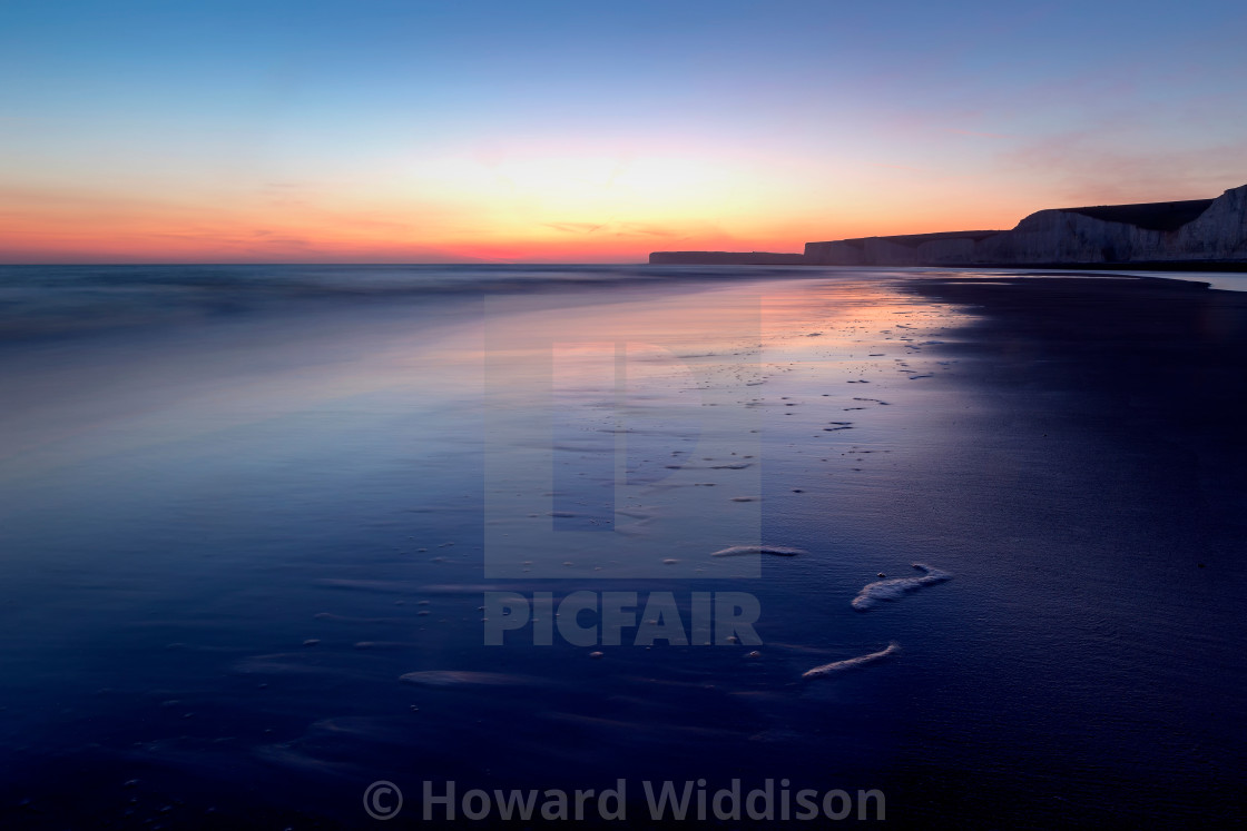 """""""Blue Hour at Birling Gap"""" stock image"""