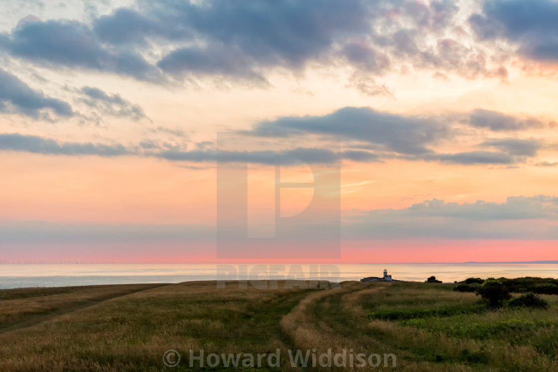 """Belle Tout and grassland from Beachy Head 2"" stock image"