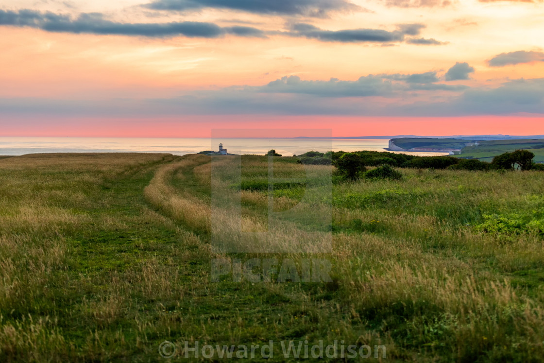 """""""Belle Tout and grassland from Beachy Head"""" stock image"""
