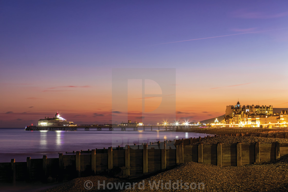 """Eastbourne Pier and Promenade Winter Blue Hour"" stock image"