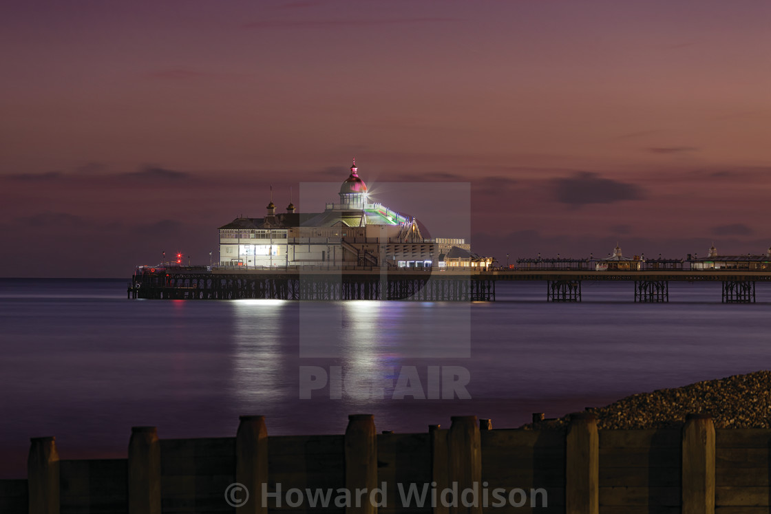 """Eastbourne Pier Winter End of Blue Hour"" stock image"