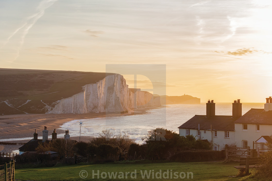 """""""Coastguard Cottages and Belle Tout Lighthouse"""" stock image"""