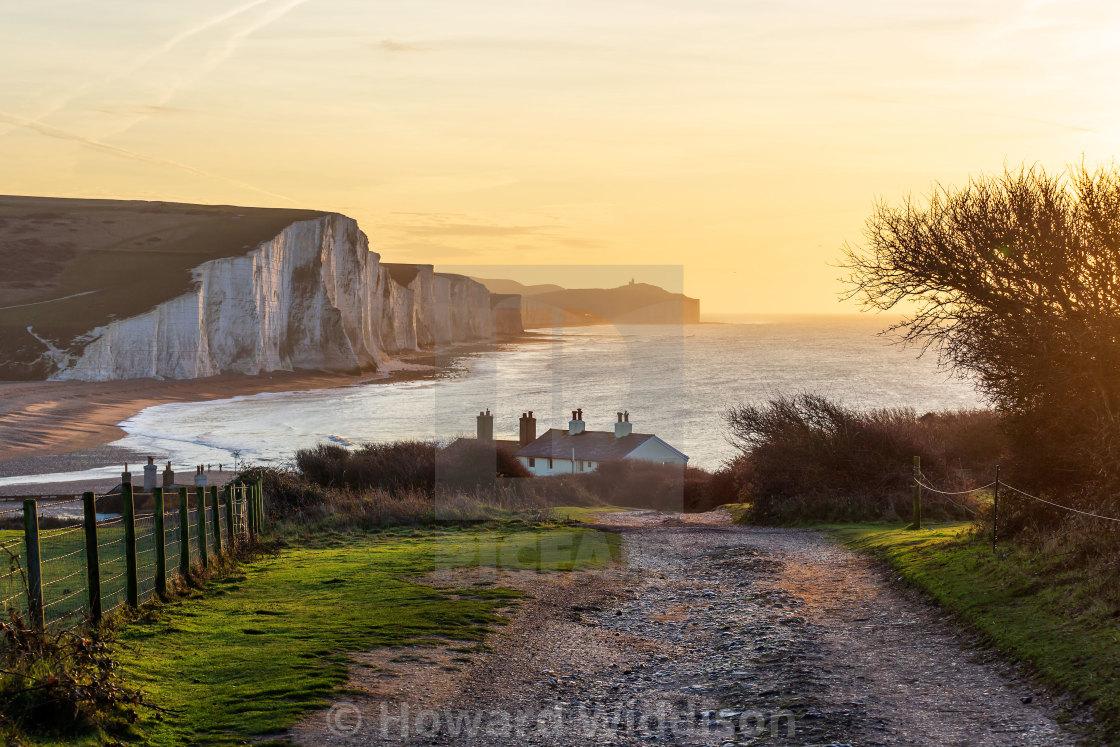 """""""The coastguard cottages at sunrise"""" stock image"""