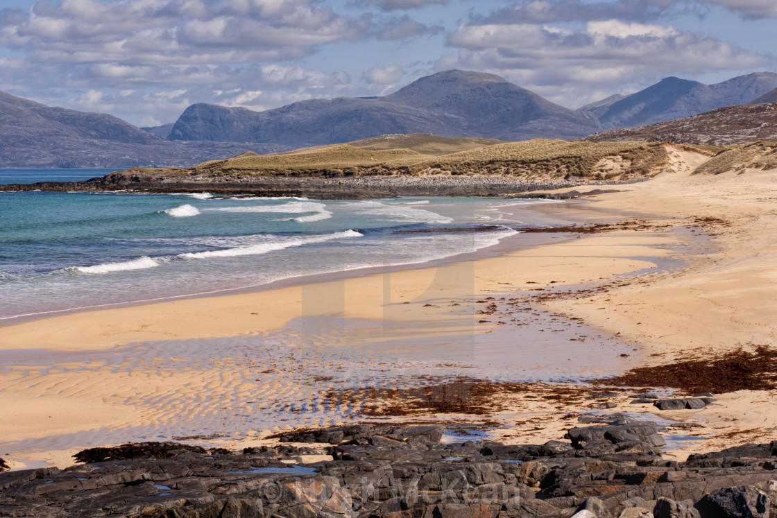"""Landscape, Traigh Mhor beach, South Harris, Western Isles, Scotland"" stock image"