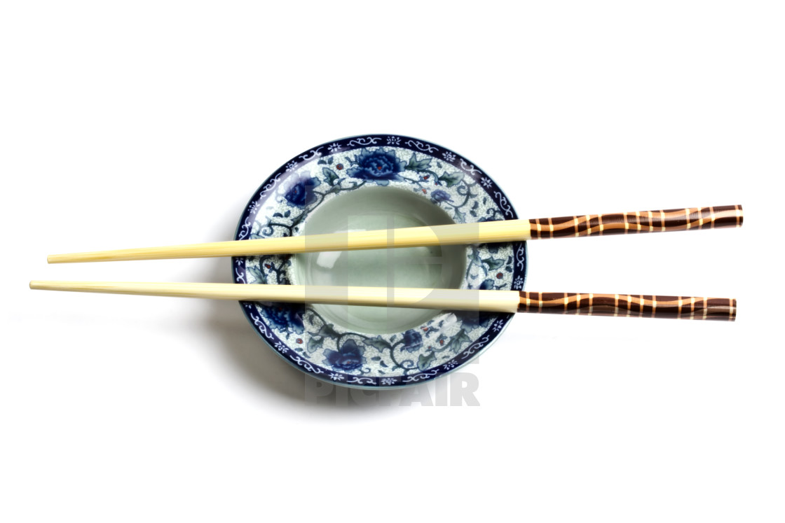 """""""Wood chopsticks and plate"""" stock image"""