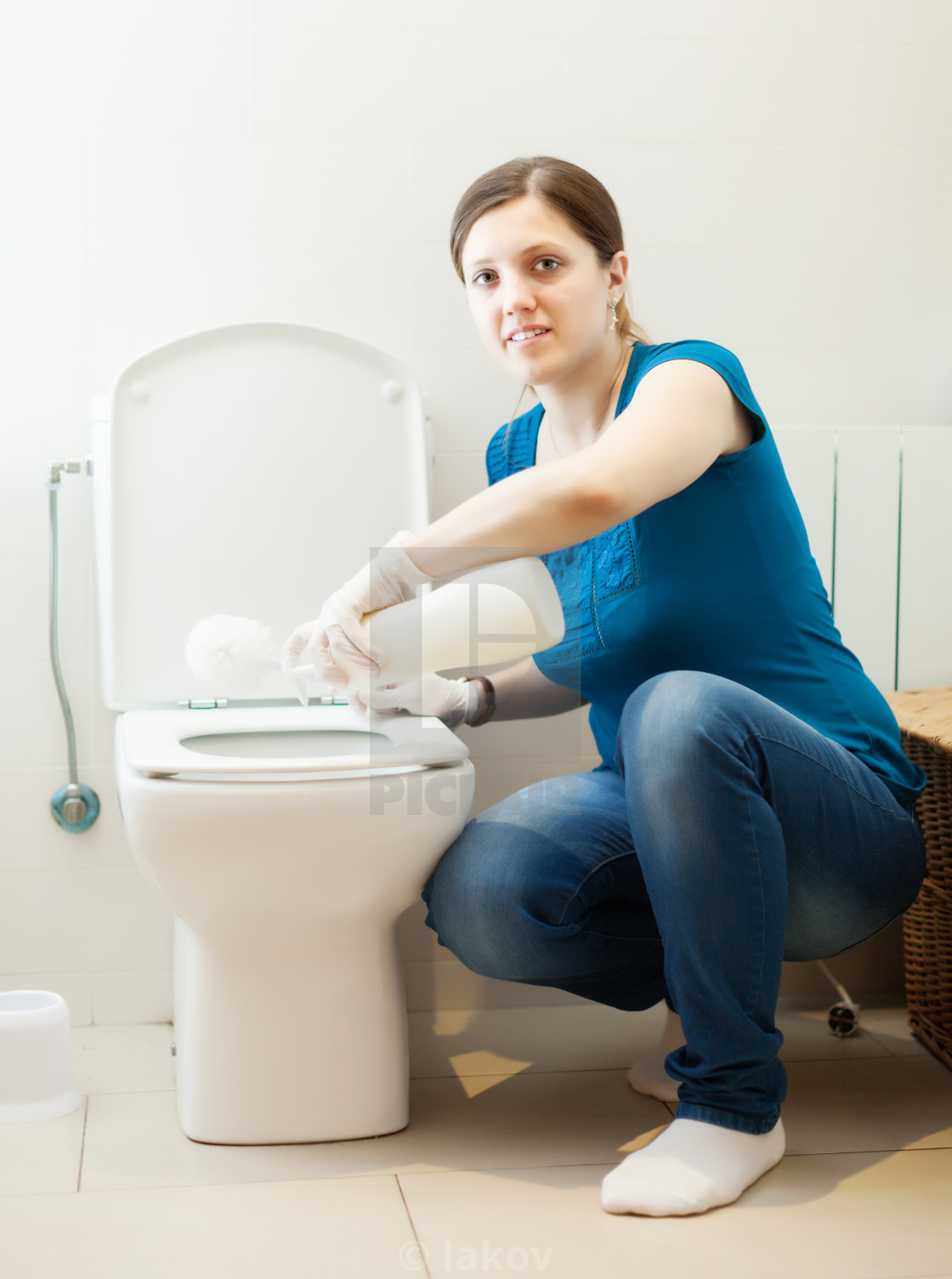 Magnificent Woman Cleaning Toilet Bowl With Brush And Cleaner License Pabps2019 Chair Design Images Pabps2019Com