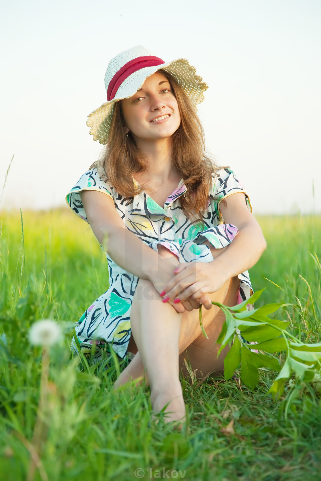 """long-haired teen girl in hat"" stock image"