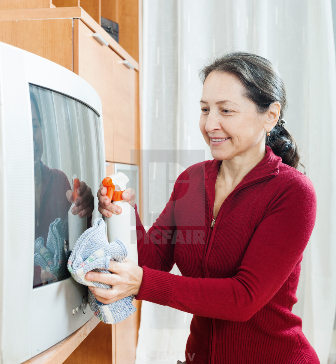 Ordinary Mature Woman Cleaning Tv License Download Or Print For