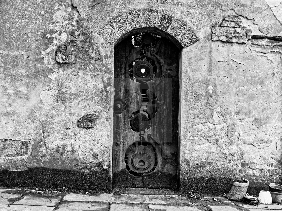 """Black and white old door"" stock image"