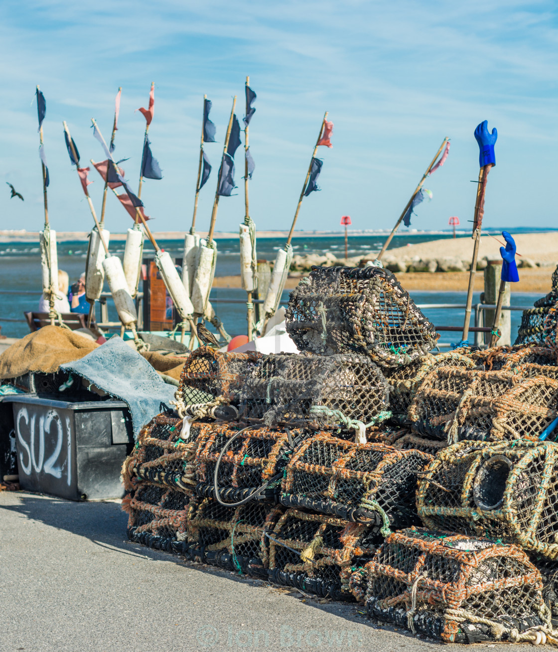 """""""Lobster pots on the Quayside"""" stock image"""