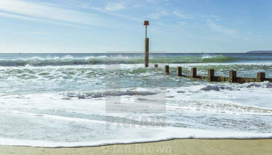 """Seascape on a sunny October day at Boscombe in Dorset"" stock image"