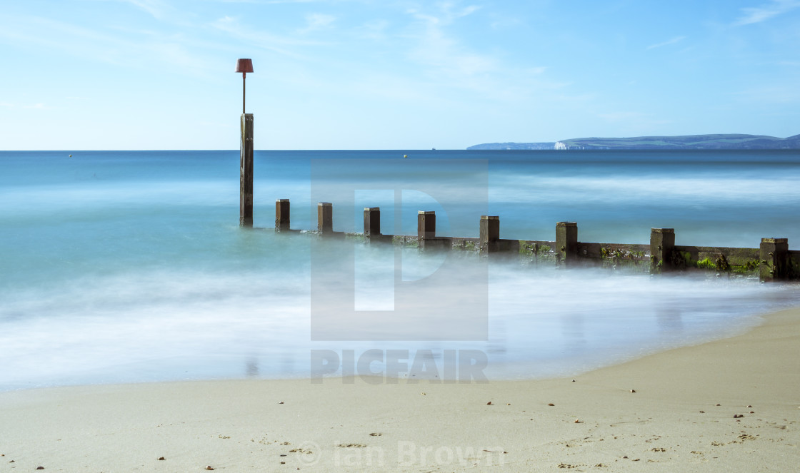 """The Groynes at Boscombe in Dorset - Long Exposure"" stock image"