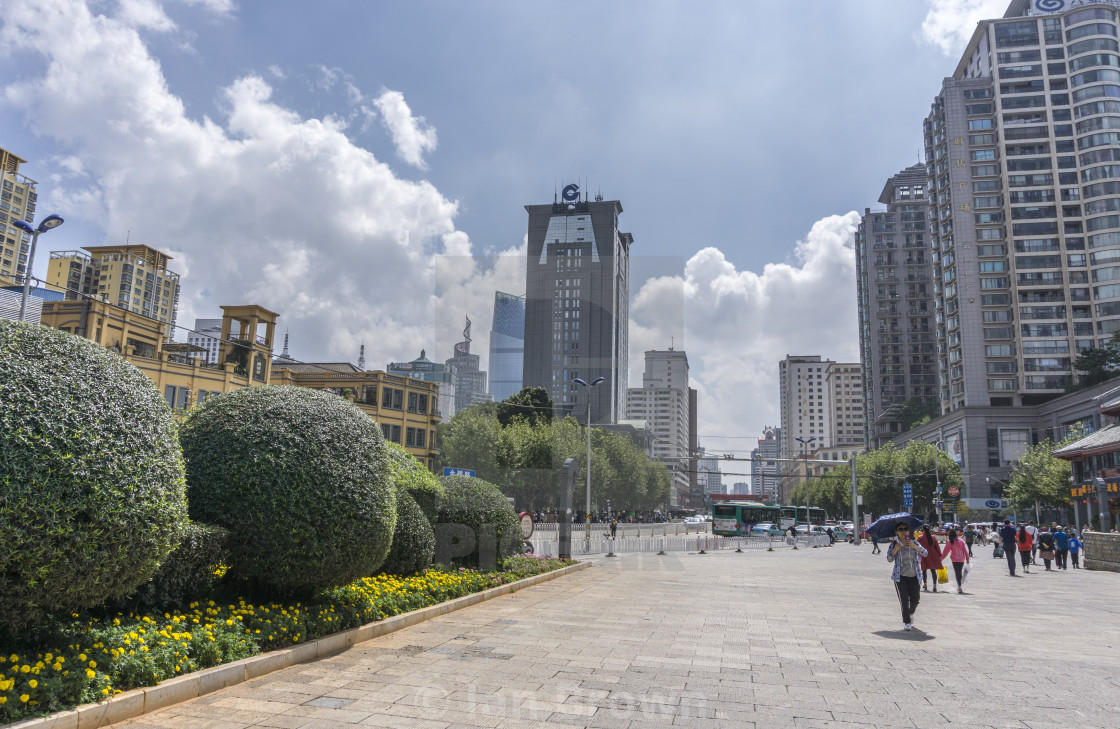 """City centre view in Kunming, Yunnan province, Southwest China."" stock image"