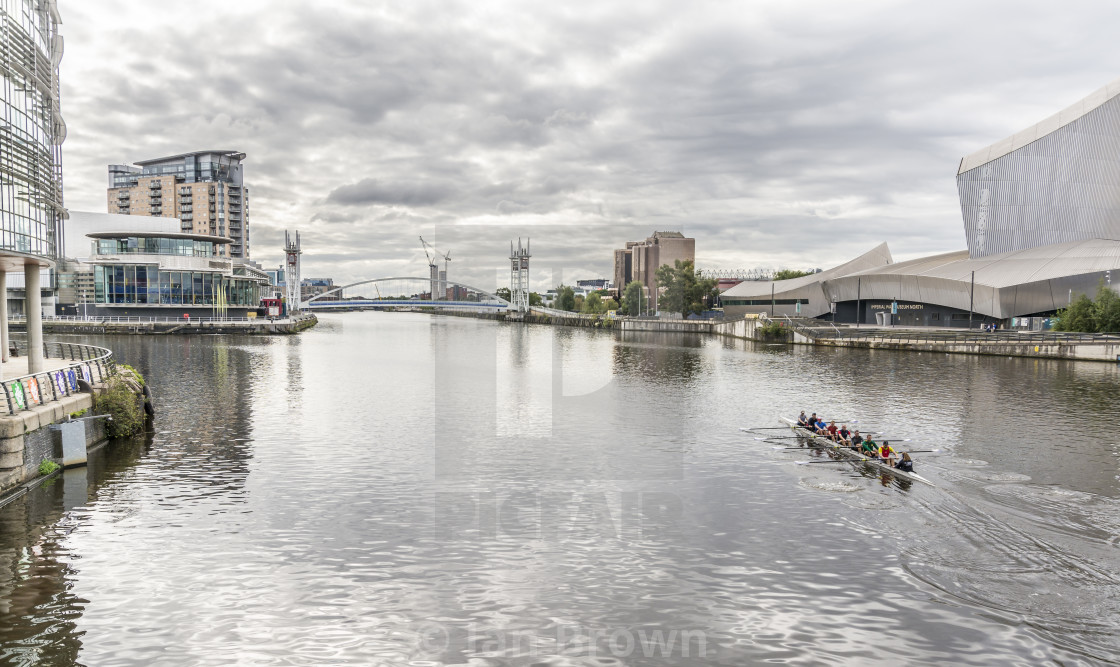 """""""The canal systems around Salford Quays in Manchester, UK."""" stock image"""