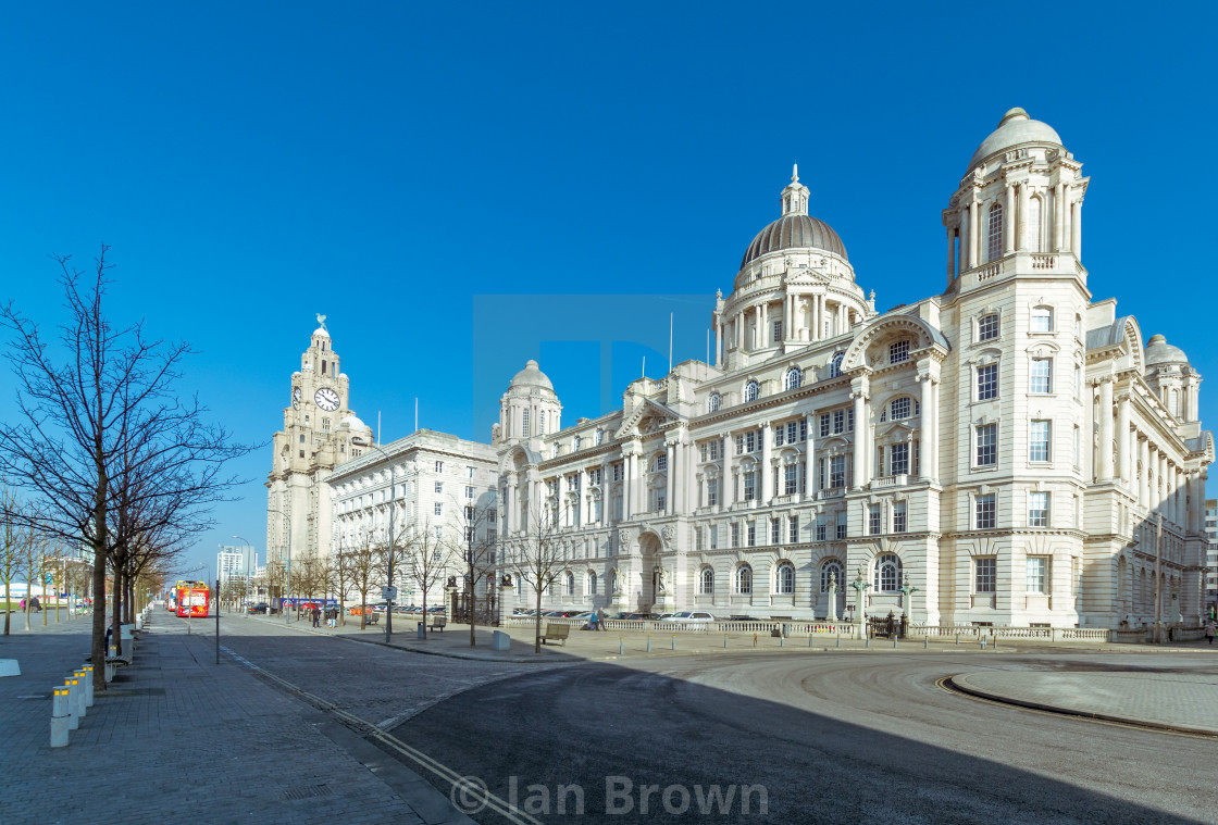"""""""A view of the Liver building at Albert Dock in Liverpool, UK."""" stock image"""