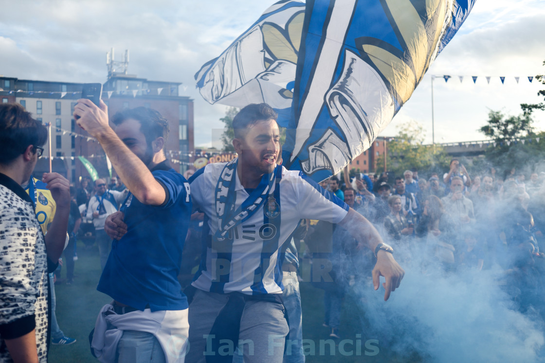"""Porto FC Football Fans,Leicester,UK."" stock image"