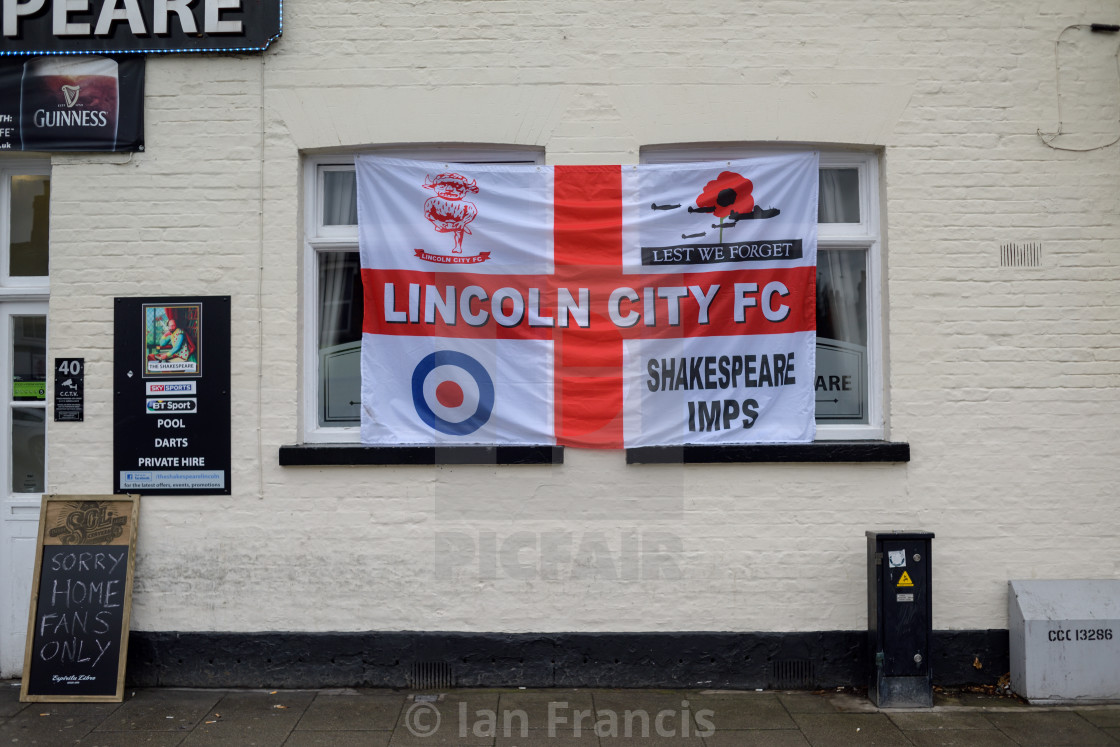 """Lincoln City vs Brighton,Home Teams Pub,UK."" stock image"