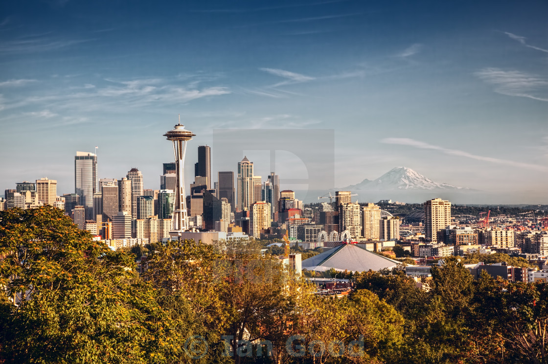 """Seattle Skyline and Mount Rainier"" stock image"