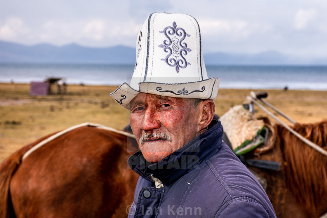 """Man at Son Kol Lake"" stock image"