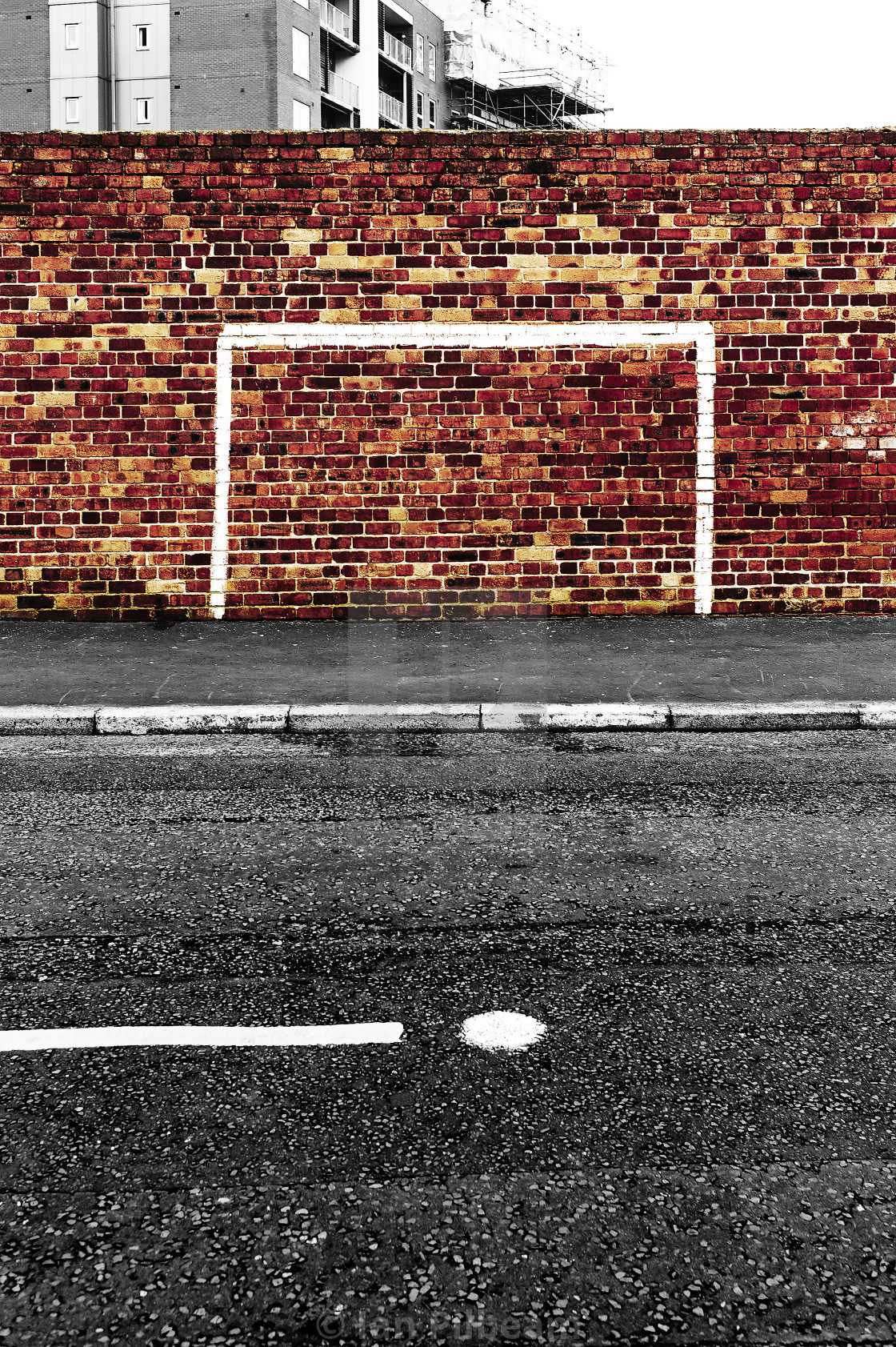 """Goal painted on brick wall"" stock image"