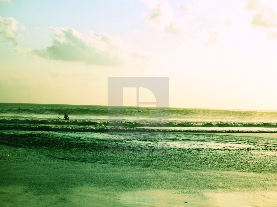 """""""Waiting for the last wave"""" stock image"""