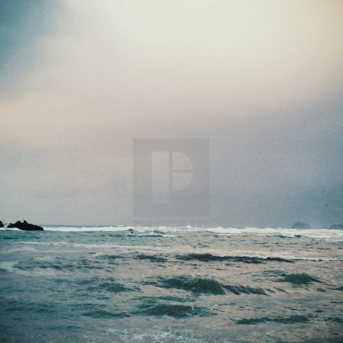 """Stormy Skys in Porthtowarn"" stock image"