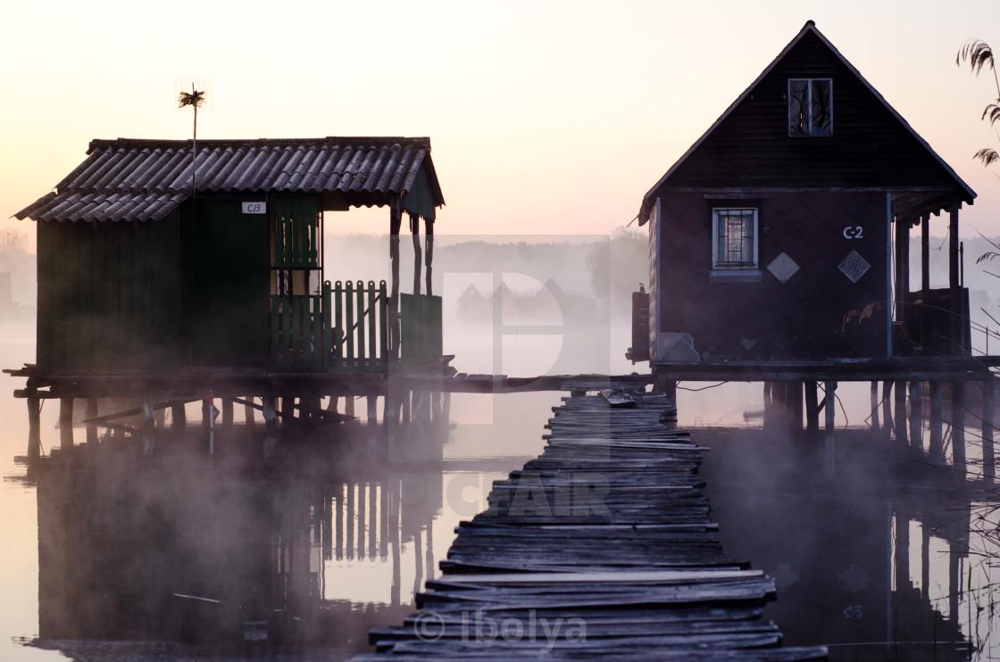 """Houses on the lake"" stock image"