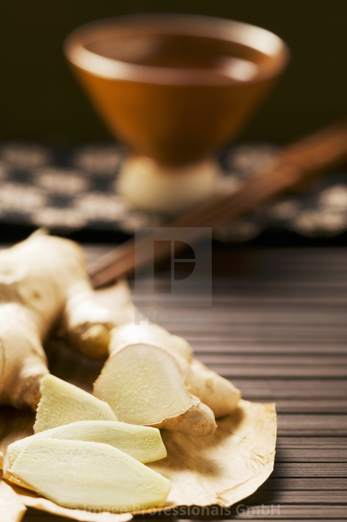 """Fresh ginger root, slices cut"" stock image"