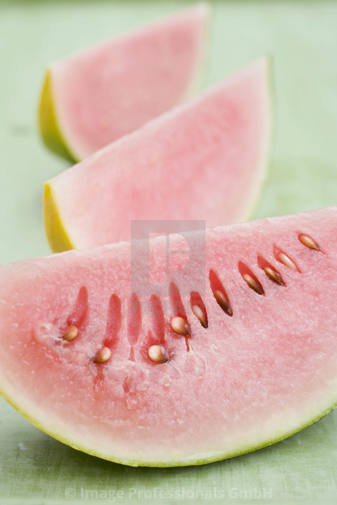 """Three wedges of watermelon"" stock image"