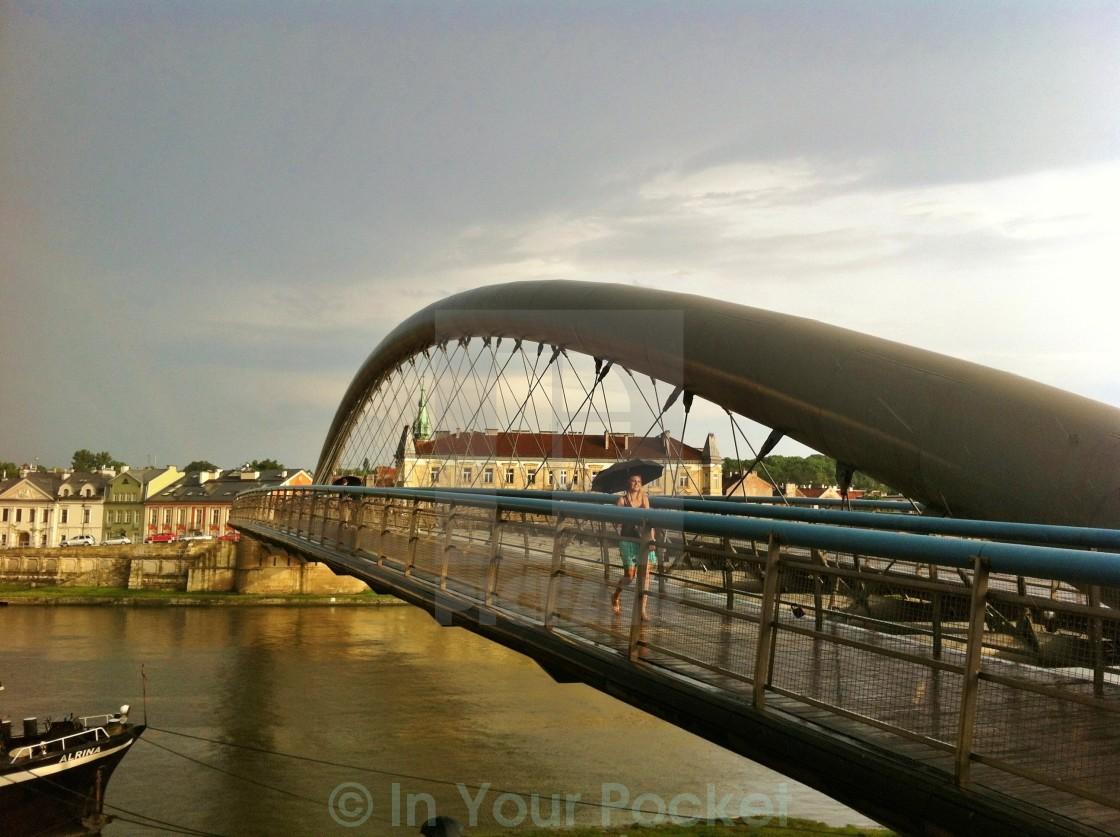 """""""Bernatek Footbridge, Krakow Poland"""" stock image"""