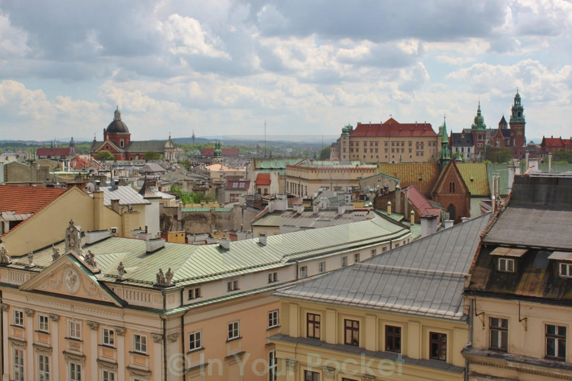 """View of Wawel from Krakow's Town Hall Tower"" stock image"