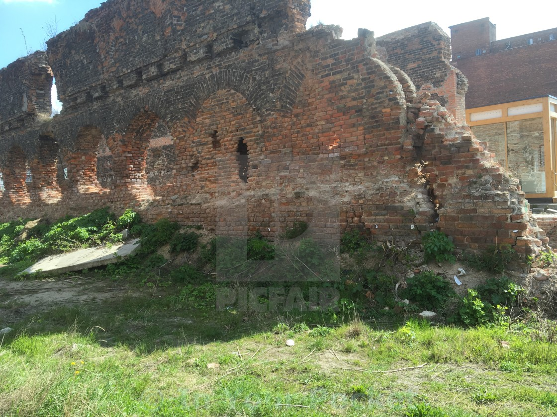 """""""Remains of one of the granaries on Gdansk's Granary Island"""" stock image"""