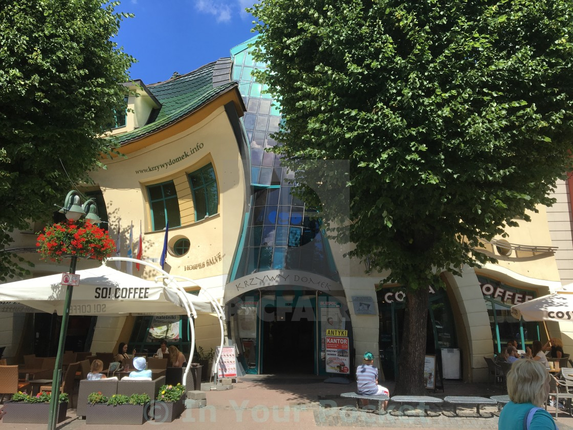 """""""The Crooked House (Krzywy Domek) in Sopot"""" stock image"""