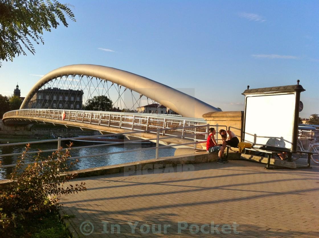 """""""Bernatek footbridge, Kraków PL"""" stock image"""