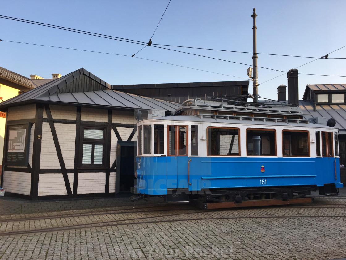 """Antique tram in Krakow, Poland"" stock image"